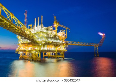 Offshore oil and gas processing platform produce gas and condensate sent to onshore refinery.
