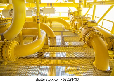 Offshore oil and gas remote platform, piping system and shutdown valve on platform which rooted from another platform then combine together at hub then sent to central facility.