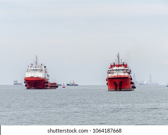 Offshore oil and gas sub-sea construction and support vessel ready to the offshore oil production fields from port at Labuan,Malaysia.