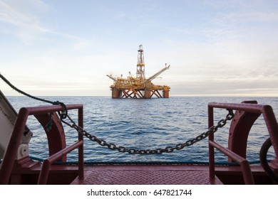 An offshore oil installation. View from ship