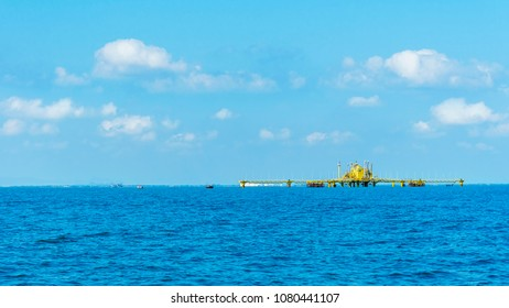 The offshore oil platform in the sea , Thailand