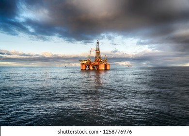 Offshore oil rig at day
