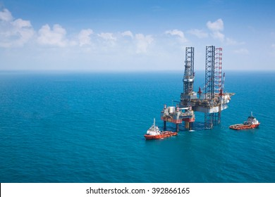 Offshore oil rig drilling platform with copy space.