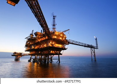 Offshore Oil Rig in The Middle of The Sea