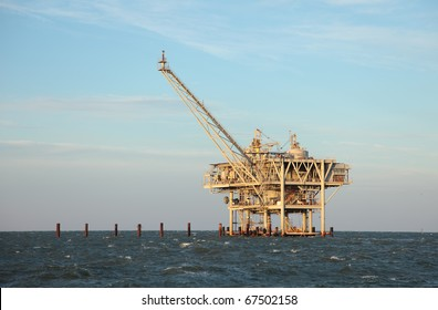 An offshore oil rig off the coast of louisiana.