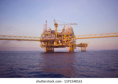 Offshore oil and rig platform in the sea.  Power energy of the world.