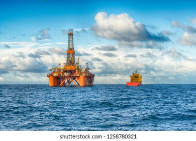Offshore oil rig and supply ship