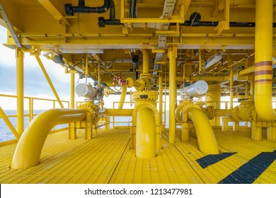 Offshore pipe, riser and sealine on oil and gas wellhead hub remote platform, the central facility to combine gases and crude together before set to central processing platform.