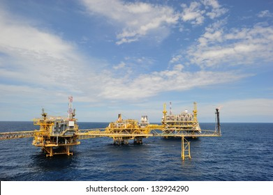 An offshore production platform in a Gulf of Thailand
