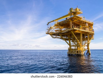 Offshore production platform in the sea for oil and gas production.