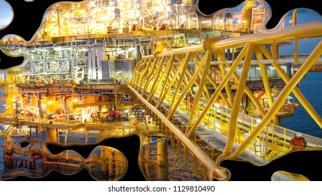 offshore rig plant with mercury liquid effect background