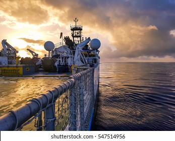 Offshore Seismic Research Vessel at Amazing Sunrise