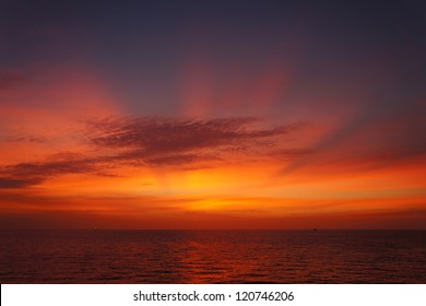 Offshore Sun Set (Red and Yellow Sky)