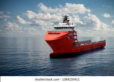 Offshore supply boat at sea during nice calm weather performing duties. Compositing technique. Bright and glossy ship for any offshore industry business design or illustration.