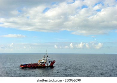 An offshore supply boat transporting people between platform