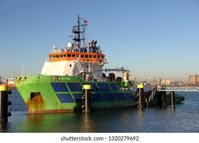Offshore tugboat Boka Alpine will be docked in Rotterdam harbor on 15 February 2019.