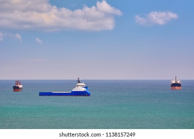 Offshore Tug/Supply Ship at Anchorage in the Black Sea