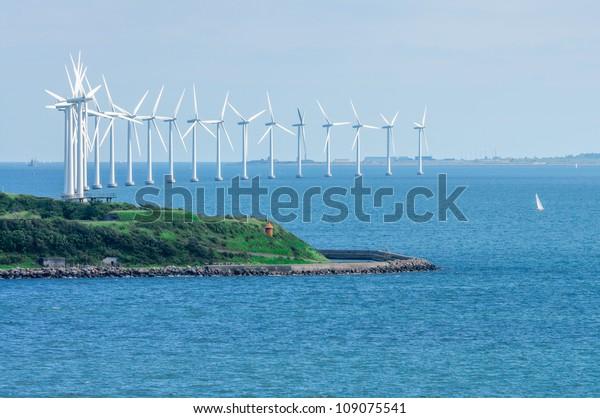 offshore wind farm in Baltic Sea off Copenhagen, Denmark
