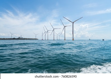 offshore wind farm with beautiful seascape , indonesia