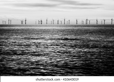 Offshore wind farm black and white