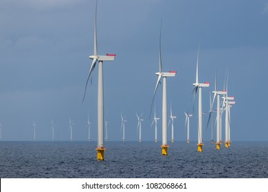 Offshore wind farm in the Kattegat sea outside Denmark.