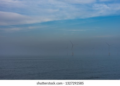 Offshore wind farm. South Gare at Redcar. North east of England.