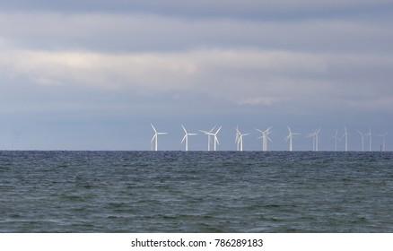 An offshore wind power station in Oresund between Denmark and Sweden