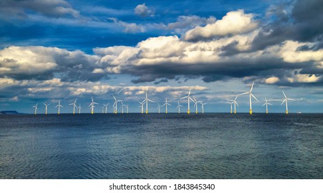 Offshore Wind Turbine in a Windfarm under construction off the England Coast