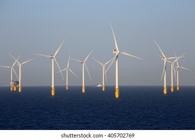 Offshore wind turbines off the Belgian coast