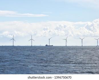 Offshore wind turbines on the coast of Copenhagen in Denmark