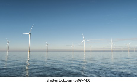 Offshore Windmill farm Westermeerwind park by Urk,Netherlands Flevoland Noordoostpolder January 2017