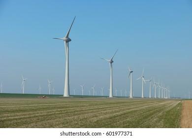 Offshore Windmill farm Westermeerwind park by Urk,Netherlands Flevoland Noordoostpolder March 2017