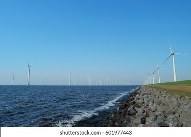 Offshore Windmill farm Westermeerwind park by Urk,Netherlands Flevoland Noordoostpolder March 2017