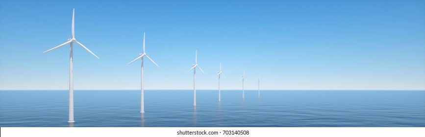 Offshore windpark as panorama 3d rendering