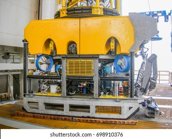 Offshore work class ROV for subsea construction and installation work, sitting on vessel's deck
