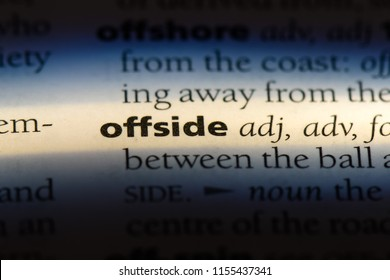 offside word in a dictionary. offside concept.
