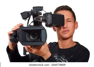 The offspring in the film industry. Education and technology, studio shot. Excellent clipping path.