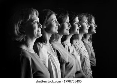 offsprings of women. Family generation change concept. Sisterhood feminine experience of feminism. Grandmother sister daughter siblings mother. Women of different ages in profile. A look into future