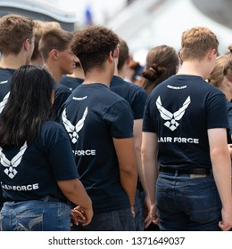 Offutt AFB, Nebraska / USA - August 11, 2018: United State Air Force recruits taking the oath of enlistment.