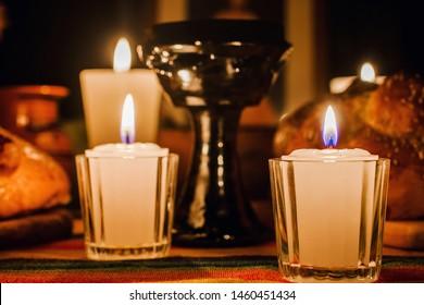 ofrenda día de muertos, Mexican Day of the dead altar, Candles in a offering Mexico