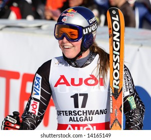 Ofterschwang Germany Lindsey Vonn of the USA in the finish area having just completed the Giant slalom race Part of the Audi FIS Alpine ski world cup
