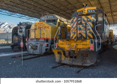 OGDEN, UTAH, USA - 15 FEBRUARY 2018 : Locomotives on display at the Utah State Railroad Museum