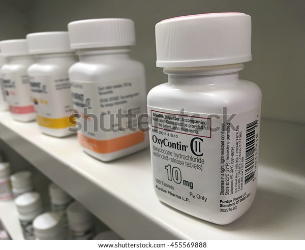 Ogden Utah USA- July, 16 2016:  oxycontin medication at the pharmacy on a shelf.