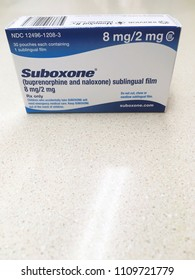 Ogden Utah USA; June 6 2018- suboxone box sits on counter which is a popular drug for opioid or methadone withdrawal