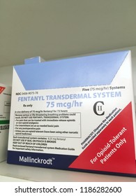 Ogden Utah USA-September 20,2018: fentanyl box on shelf which is currently a topic in the media because of opioid abuse and deaths caused by opioids.