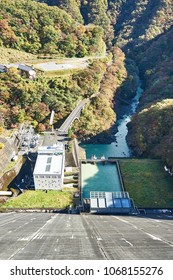 Ogouchi dam in autumn Hydropower station and secondary dam