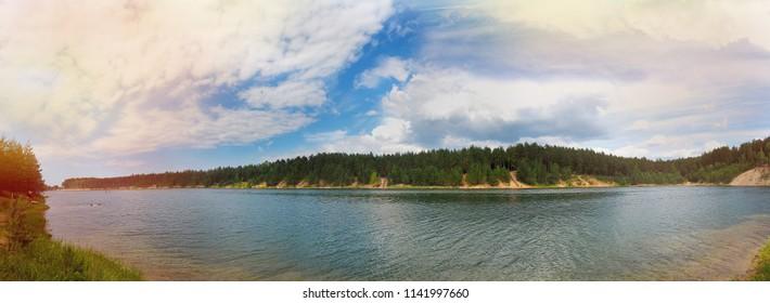 """Ogre, Latvia - June 19 2018: Dabas parks """"Ogres zilie kalni"""" , Ogre blue mountains"""
