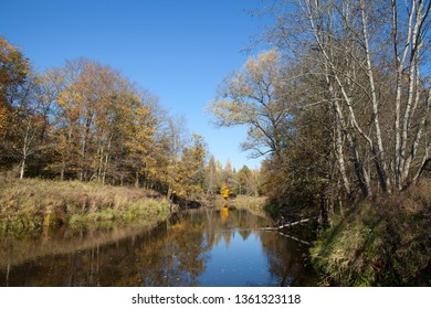 Ogre river on a sunny automn day