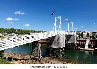 Ogunquit, Maine - August 27, 2016: White Wooden Bridge at Perkins Cove, Ogunquit, Maine.