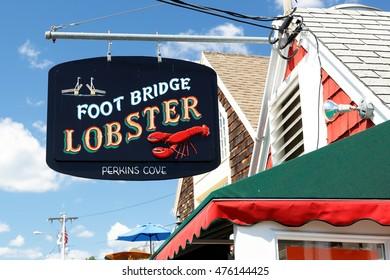 Ogunquit, Maine - August 27, 2016: Footbridge Lobster Restaurant at Perkins Cove, Ogunquit, Maine.